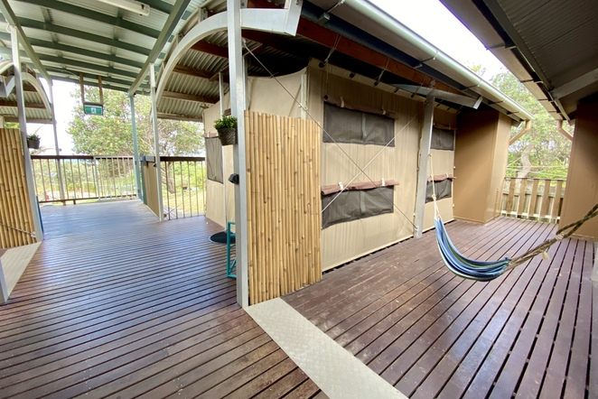 Guests can relax in one of the many hammocks after a day of adventures