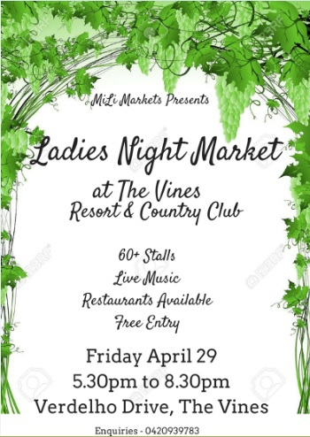ladies night market, markets in perth, girls night out perth, free events perth, handmade markets perth, mili markets, boutique markets perth, the vines resort markets, diy markets perth