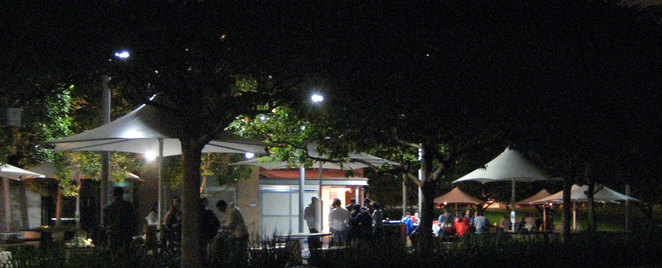 People enjoying an evening barbecue at the Roma Street Parklands