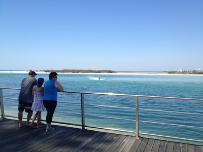 Looking out over the water to the northern tip of Bribie Island