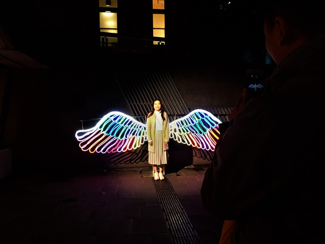 neon angel wings at qv melbourne