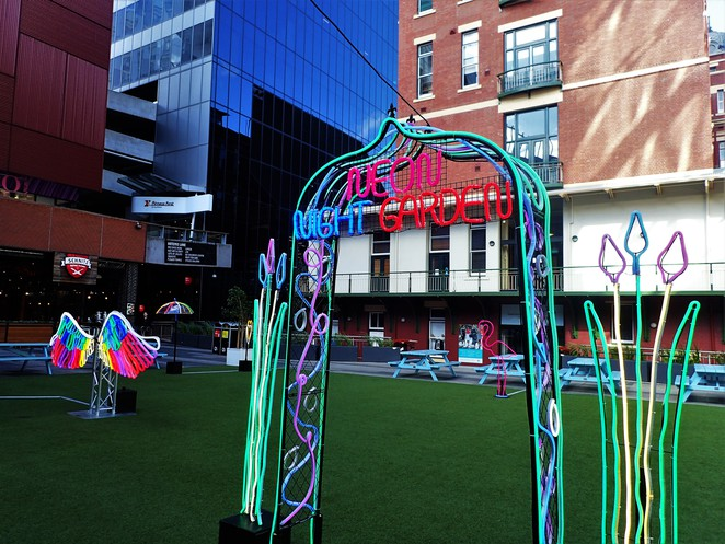 neon night garden at qv melbourne