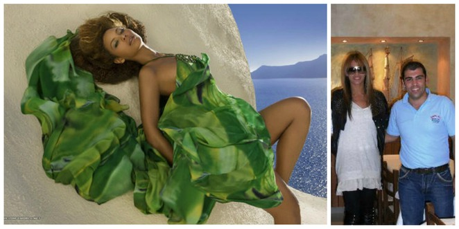 Beyonce in Santorini Greece Mario