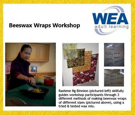 Rae of Light, WEA Centre, WEA Adult Learning, WEA, Raelene Ng Binnion, Beeswax Wraps Workshop, beeswax wraps, beeswax, sustainable, REDcycle, DIY