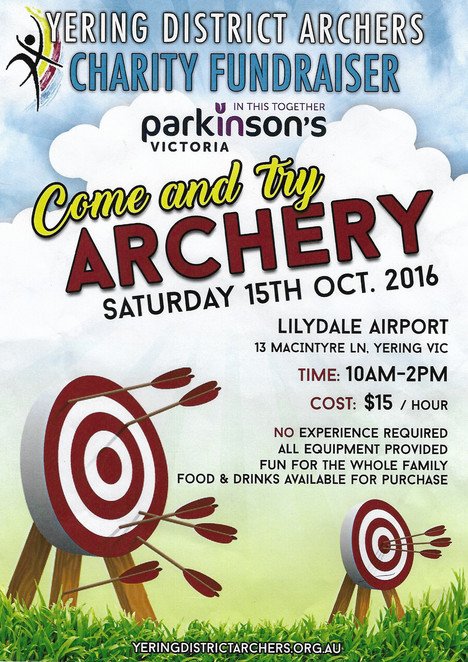 Yering District Archery Club Fundraising Poster