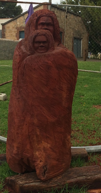 Sculpture by Ngarrindjeri artist Robert Wuldi.