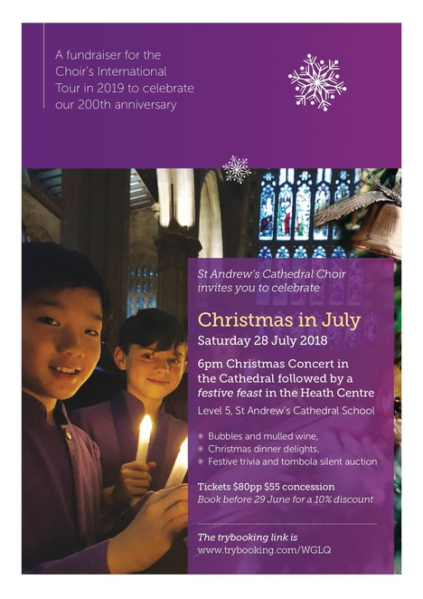 st andrews cathedral choir, christmas in july, christmas concert, heath centre, st andrews cathedral school, choir, oldest cathedral community event, fun things to do, gingerbread angels, shopping, christmas market, christmas music, family fun