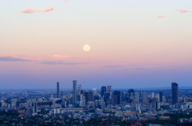 The supermoon seen from Mt Coot-tha
