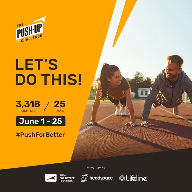 the push-up challenge 2021 fundraiser, community event, fun things to do, keep fit, push for better mental health, health and fitness, exercise challenge for fundraiser, helping australia with better mental health