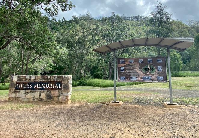 The Thiess Memorial at the entrance to the campground