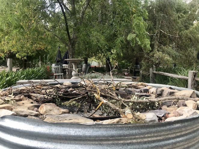 A fire pit at Lazy Ballerina