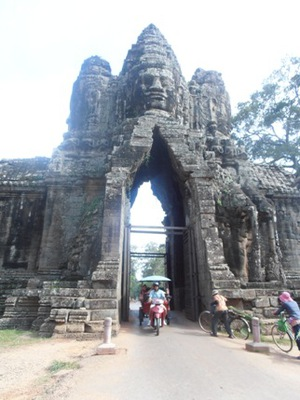 One of the gateways leading into Angkor Thom