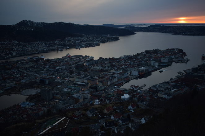 Bergen, cityscape, night, night photography, norway