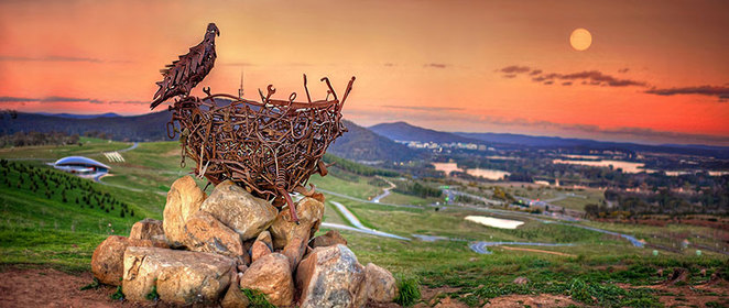 dairy farmers lookout, canberra, ACT, top things to do, canberra, tourists, national arbroetum, nest, sculptures,