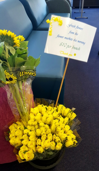 Flowers, morning tea, fundraising, cancer council