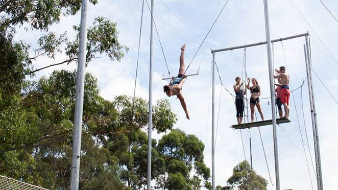 Flying Trapeze, Circus skills, trapeze artist, Sydney Olympic Park, School Holidays
