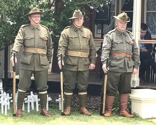 ANZAC Cottage Remembrance Day Commemoration. Members of the Western Australian Great War Living History Association standing vigil during the Remembrance Day service in 2016.