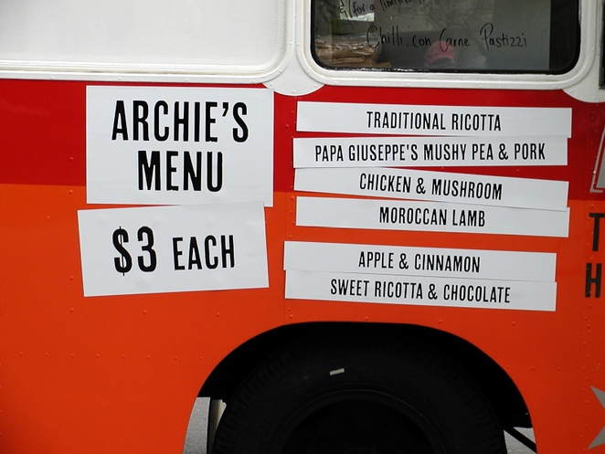 pastries, ricotta, about adelaide, pastizzi, archie the pastizzi bus, moroccan lamb, mushy peas, in adelaide, food truck, menu