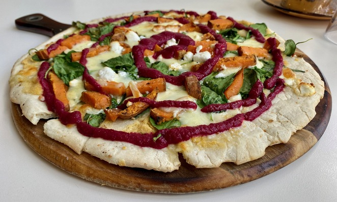 Delicious vegetarian pizzas are just one of the many menu items at Picnic Point