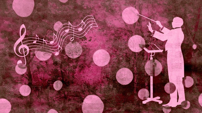 pink music graphic orchestra conductor