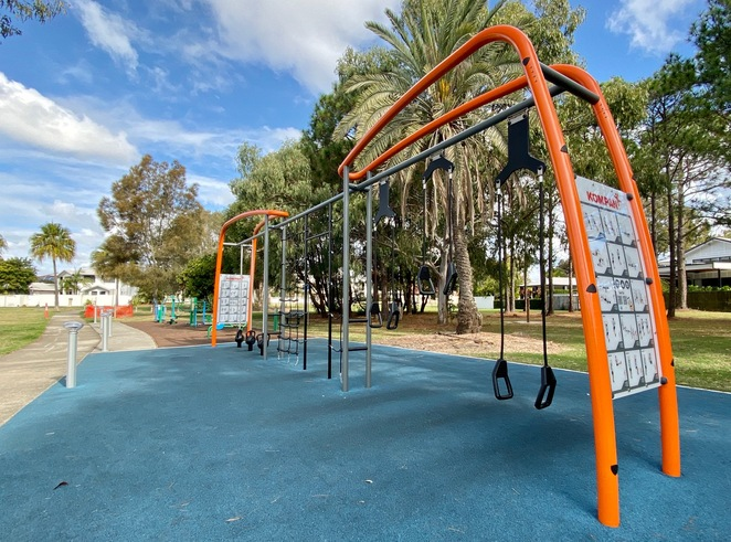 Parents aren't forgotten at Raby Bay Esplanade Park, with this fantastic outdoor gym