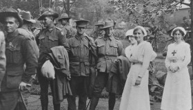 Red Cross Voluntary Aids attend to returning soldiers, WWI