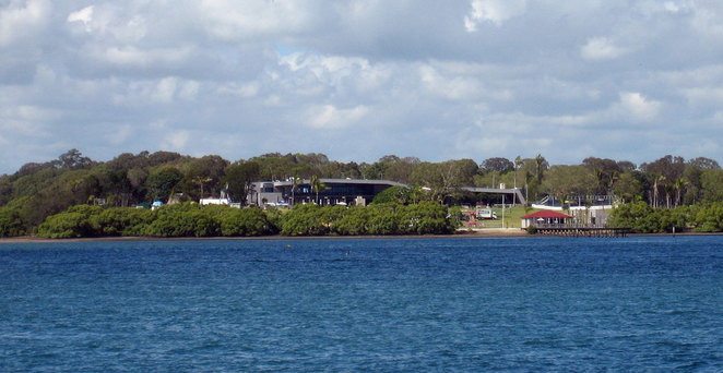 The Sandstone Point Hotel seen from Bongaree on Bribie Island