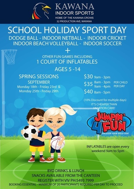 September school holiday activities on the Sunshine Coast, Kawana Indoor Sports, spring sessions, dodge ball, indoor netball, indoor cricket, indoor beach volleyball, indoor soccer, court of inflatables, FREE Captain Ginger Beard presents 'How to talk like a pirate', Ginger Factory, Yandina, Coast Club School Holiday Activities in Currimundi, caving, surfing, archery, pool games, stand-up paddle boarding, high ropes, canoeing, giant swing, rock wall, Rockit Climbing Gym, Warana, Inflatable World, Chipmunks Playland and Cafe, Britinya, Sea Life Sunshine Coast
