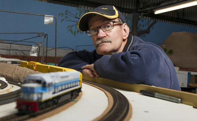 South West Model Railway's Garry watching one of the model trains in action at the South West Rail and Heritage Centre