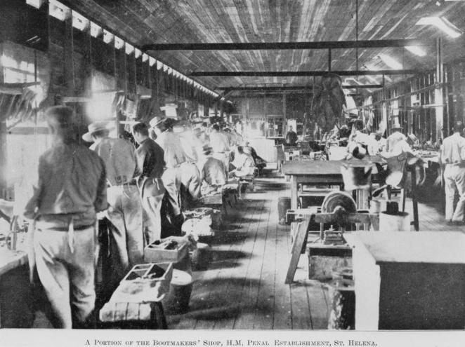 Prisoners making boots in 1911 (Courtesy of the State Library of Queensland)
