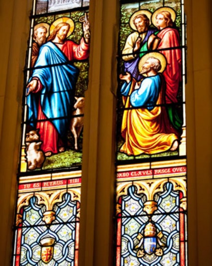 Stained glass window at St. Patrick's church