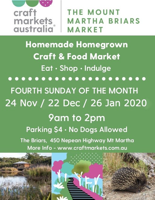 the mount martha briars market 2019 2020, community event, shopping, fun things to do, the briars mount martha, free market event, mornington peninsula, wildlife sanctuary, heritage hoemstead, nursery, eco living display centre, eco camp, eateries, astronomy centre, home made, home grown products, walking trails, galleries, heritage homestead, fresh food, unique gifts, homewares, stall holders, art and craft, entertainment, activities