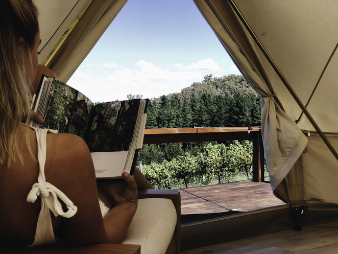 the naked cubby, canberra, mount majura vineyard, winery, canberra, glamping, tents, glamping in canberra, views, vineyards in canberra, accommodation,
