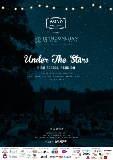 under the stars, 13th indonesian film festibval 2018, high school revunion, immigration museum, galih dan ratna, indonesian movie, foreign movie, community event, cultural event, fun things to do, subtitled movie, classic indonesian movie, film festival, commercial and arthouse cinema, cinema, university of melbourne indonesian student association, free event