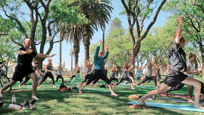 yoga in the park perth, pay as you feel yoga classes, community event, fun things to do, hyde park, blooming happy yoga, exercise, health and fitness, calm your mind, release tension, vinyasa yoga class, strength and balance, flexibility, yoga for beginners, yoga to suit all levels