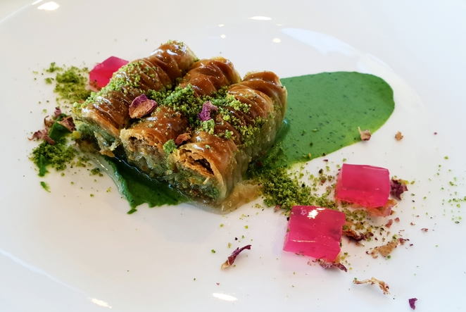 Baklava, pistachio, sweet, dessert, modern, food, wine, lunch