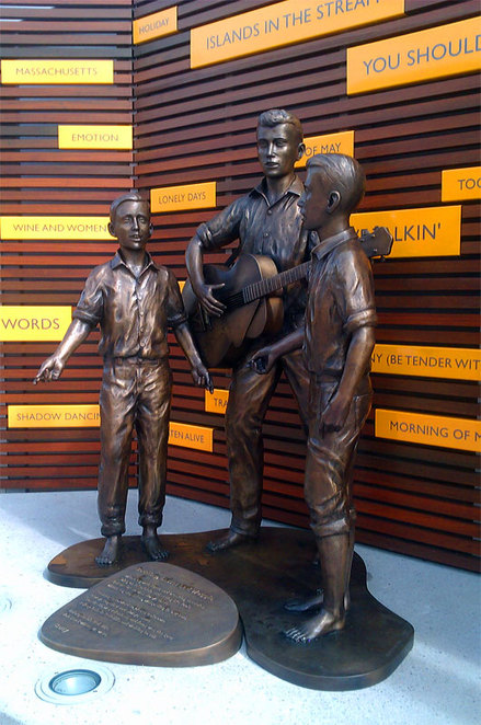 A statue of the the young Bee Gees at Redcliffe