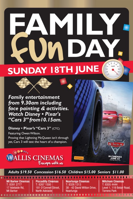Cars 3 Family Fun Day at Wallis Cinemas
