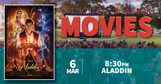 civic park movies 2020, city of tea tree gully, tea tree events, community event, fun things to do, outdoor cinema, entertainment, food trucks, performing arts, actors, actress, outdoor cinema, free cinema, incredibles 2, toy story 4, aladdin 2019, the secret life of pets 2, gold grass competitions 2020, civic park ausday, australia day 2020, free family entertainment, festivities