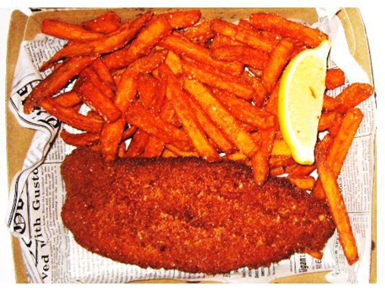 Crumbed fish sweet potato chips lemon High Tide Northpoint Toowoomba