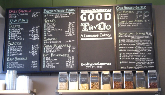 Good-To-Go Menu, good menu, healthy eatery, raw food eatery, organic food menu, gluten free menu,