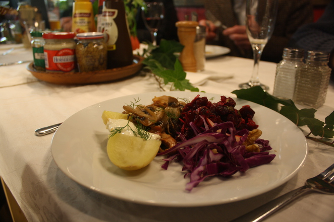 Delicious wild mushrooms and red cabbage at The Latvian Lunchroom