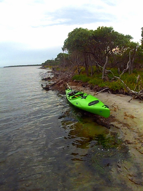Kayaking Victoria's Gippsland Lakes with a touring kayak, a fairly stable versatile boat with fair cruising speed