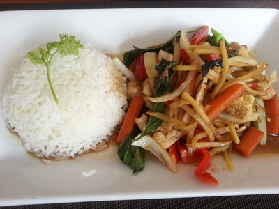 Lai Thai Restaurant, basil and chilli stir-fry