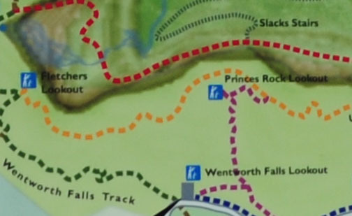Map of Princes Rock Lookout to Wentworth Falls