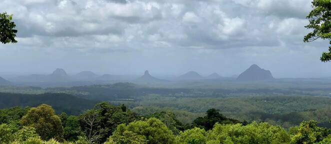 A view of the Glasshouse Mountains from Mary Cairncross Scenic Reserve