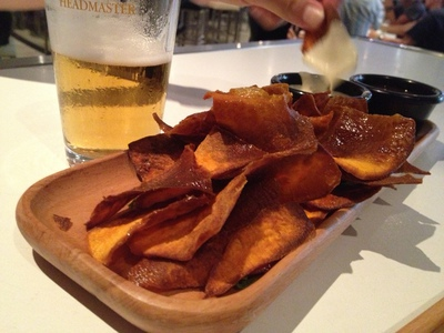 Some hand cut sweet potato chips with aioli ($6)