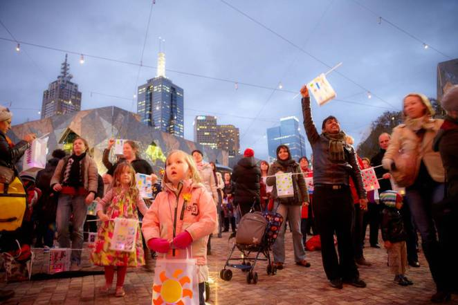 the light in winter, federation square, solstice celebration
