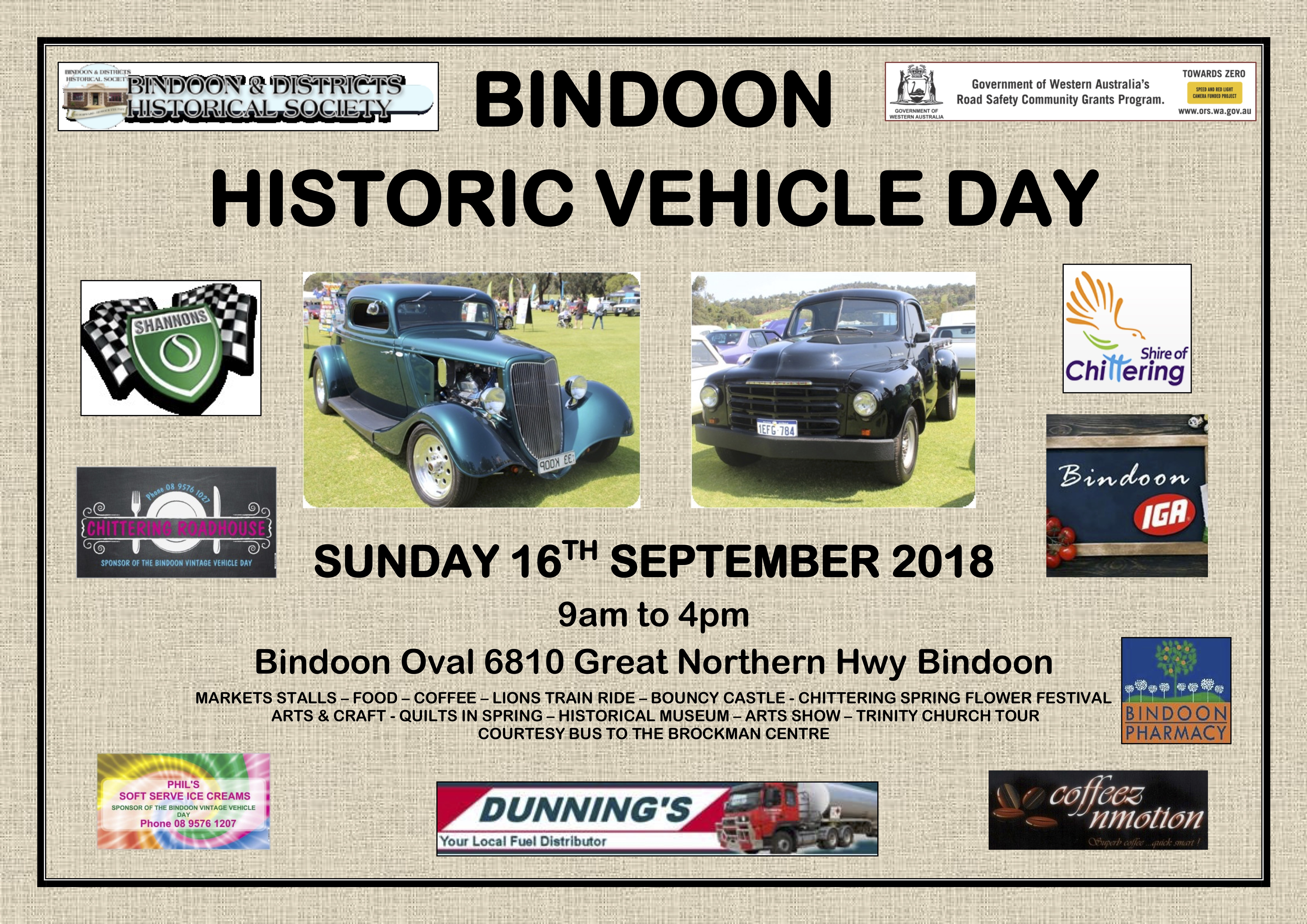 87177628e7b This Sunday, take a walk down memory lane at Bindoon Historic Vehicle Day  2018! As part of the Chittering Spring Festival, this annual,  family-friendly ...