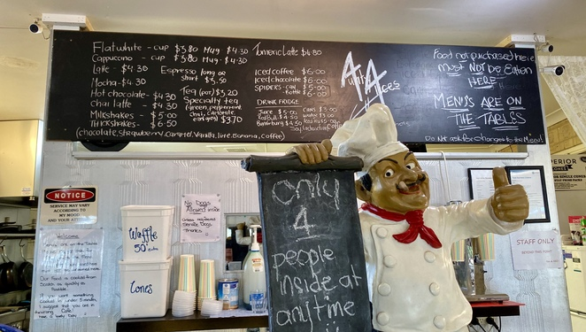 A selection of drinks and pre-made food are available to order inside Aunty Alice's Cafe